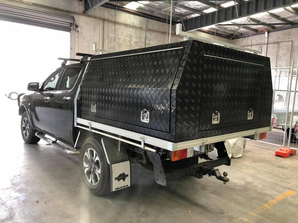 Ute Canopy Aluminium 3 Door Checkerplate Black Dual Cab Long